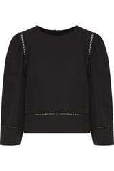 Isabel Marant Rodwell Open Knit Trimmed Linen And Cotton Blend Top Black