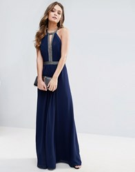 Lipsy Bandeau Fishtail Maxi Dress With Lace Detail Navy