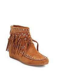 Ash Spirit Fringed Suede Moccasin Ankle Boots Sienna
