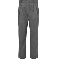 Arpenteur Serge Pleated Virgin Wool And Cotton Blend Trousers Gray