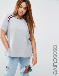 Asos Curve T Shirt With Stripe Inserts In Longline Fit Charcoal Grey
