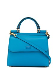 Dolce And Gabbana Small Sicily Tote Blue