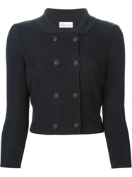 Red Valentino Double Breasted Knit Jacket Blue