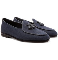 Rubinacci Marphy Leather And Suede Trimmed Herringbone Linen Tasselled Loafers Blue