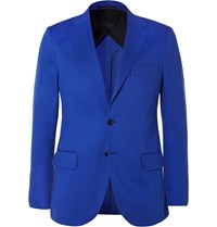 Mp Massimo Piombo Blue Slim Fit Cotton Twill Blazer