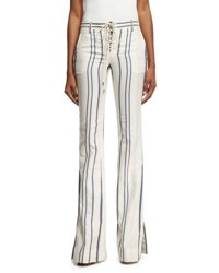 Roberto Cavalli Striped Tie Front Bell Bottom Jeans White Blue White Blue
