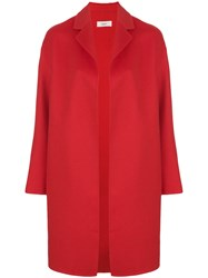 Pringle Of Scotland Single Breasted Boxy Coat Cashmere Wool Red