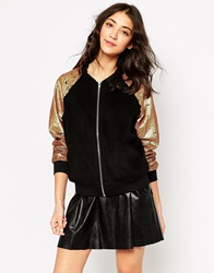 Sister Jane Eclipse Bomber With Sequin Sleeves Black