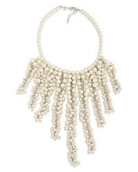 Carolee Faux Pearl Collar Necklace 16 White Silver