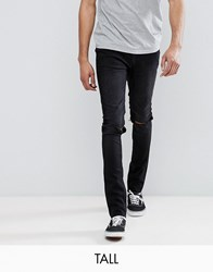 Cheap Monday Tall Tight Black Skinny Jeans With Knee Rip Cut Haze