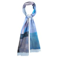 Viyella Wool Abstract Print Scarf Blue