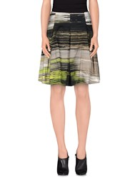 D.Exterior Skirts Knee Length Skirts Women Acid Green