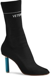 Vetements Stretch Jersey Ankle Boots Black