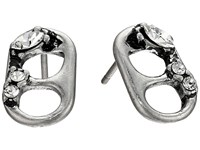 Marc Jacobs Safety Pin Mini Strass Soda Lid Studs Earrings Crystal Antique Silver Earring