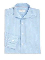 Eton Of Sweden Striped Long Sleeve Shirt Aqua Blue