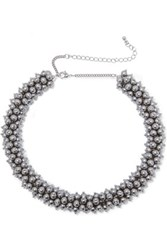 Kenneth Jay Lane Silver Tone Faux Pearl Beaded Necklace One Size