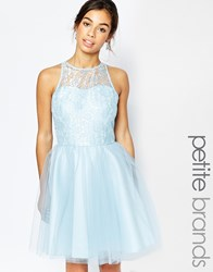 John Zack Petite Lace Bodice Tulle Skirt Prom Dress Blue