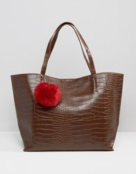Glamorous Moc Croc Tote Bag With Burgundy Faux Fur Pom Deep Brown