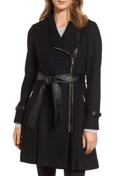 Guess Women's Belted Boiled Wool Blend Coat Black