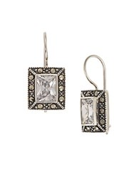 Lord And Taylor Square Stone Earrings Silver