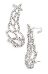 Topshop Women's Crystal Wing Ear Climbers Silver