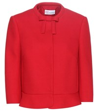Red Valentino Cropped Crepe Jacket Red