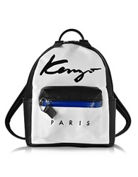 Kenzo Paris Signature White Canvas And Black Perforated Eco Leather Small Backpack