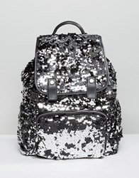 Miss Selfridge Sequin Backpack Silver