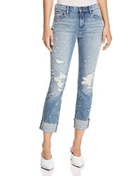 Aqua Embellished Distressed Straight Leg Jeans In Light Wash 100 Exclusive