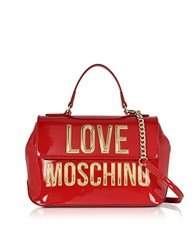 Love Moschino Patent Eco Leather Shoulder Bag W Signature Logo Red