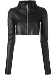 Rick Owens Lilies Cropped Leather Jacket Women Cotton Lamb Skin Nylon Viscose 40 Black