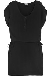 Splendid Crinkled Gauze Mini Dress Black