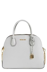 Michael Michael Kors By Large Mercer Leather Dome Satchel White Optic White