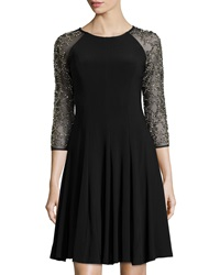 Chetta B Beaded 3 4 Sleeve Fit And Flare Dress Black