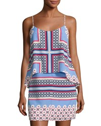 1.State Graphic Print Popover Dress Blue