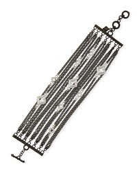 Armenta New World Multi Strand Bracelet With Black Spinel Silver