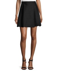 Halston High Waisted Pleated Structured Skirt Black