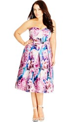 Plus Size Women's City Chic 'Rainbow Rose' Floral Print Strapless Fit And Flare Dress