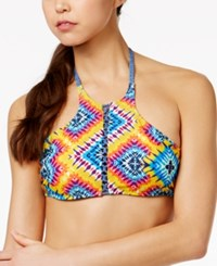 Jessica Simpson Surfside Reversible High Neck Halter Bikini Top Women's Swimsuit Multi