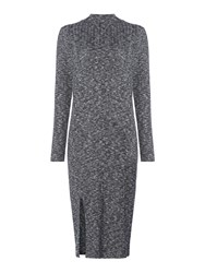 Label Lab Riker Charcoal Brushed High Neck Knitted Dress Charcoal
