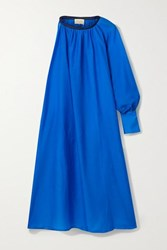 Zeus Dione Galene One Sleeve Linen Trimmed Cotton And Silk Blend Midi Dress Blue