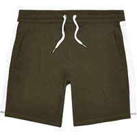 River Island Mens Dark Green Stripe Casual Shorts