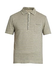 Massimo Alba Wembley Striped Linen Polo Shirt Beige