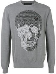 Philipp Plein Logo Skull Embroidered Sweater Grey