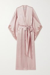 Carine Gilson Caudry Lace Trimmed Silk Satin Robe Antique Rose