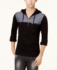 Inc International Concepts Men's Quarter Zip Hoodie Created For Macy's Deep Black