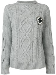 Mr And Mrs Italy Cable Knit Jumper Grey