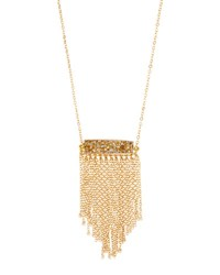 Panacea Long Druzy Fringe Necklace Peach