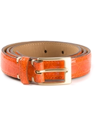 Fausto Colato Crocodile Leather Belt Yellow And Orange