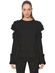 Alexander Mcqueen Lace Up Chunky Knit Wool Sweater